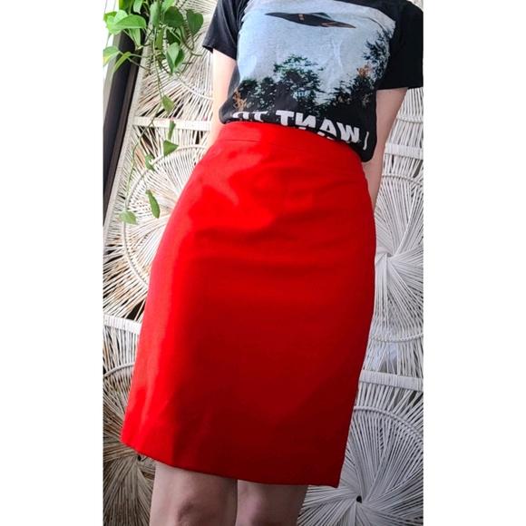 ♡J. CREW Cherry Red Pencil Skirt♡